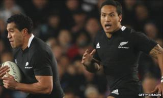 Hosea Gear (right) supports Mils Muliaina during New Zealand's Tri-Nations match against Australia in August
