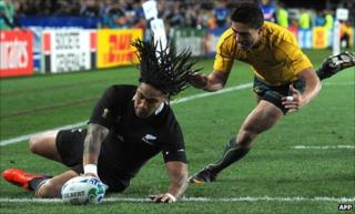 Ma'a Nonu scores the opening try for the All Blacks