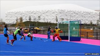 The GB women's team try out the new surface at the Hockey Centre