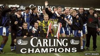 Manchester United celebrate their 1995-96 Premier League triumph