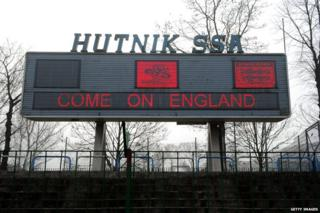 Scoreboard at Hutnik Municipality Stadium in Krakow, Poland