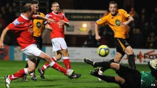 Wrexham player-manager Andy Morrell scored twice
