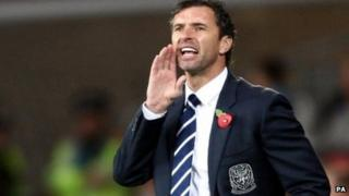 Wales manager Gary Speed shouts out instuctions during the 4-1 friendly win over Norway