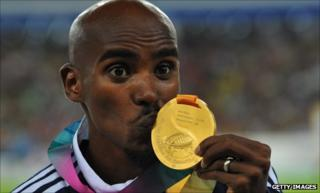 Mo Farah after winning the 5,000m gold medal at the World Athletics Championships in Berlin