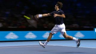 Roger Federer on his way to beating Mardy Fish at the ATP World Tour Finals