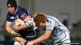 Cardiff Blues' Paul Tito tackles Leinster's Sean O'Brien