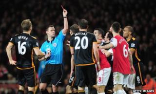 Wolves midfielder Nenad Milijas is sent off during the 1-1 draw with Arsenal
