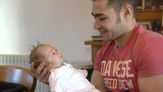 Leon Haslam with his baby girl Ava May