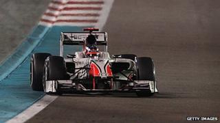An HRT at the 2011 Abu Dhabi Grand Prix