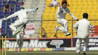 Saeed Ajmal celebrates