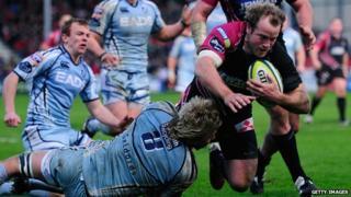 James Simpson-Daniel scores for Gloucester against cardiff Blues