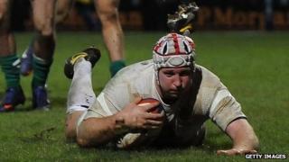 Thomas Waldrom scores Saxons's second try