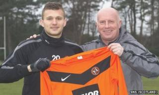 Milos Lacny and Dundee United manager Peter Houston