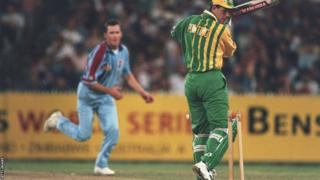 Ricky Ponting is bowled by Craig White, playing for Australia A against England in a one-day game