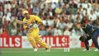 Ricky Ponting hits out against Sri Lanka in the 1996 World Cup final in Lahore