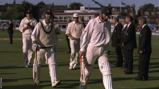 Ricky Ponting (second left) and Matthew Elliott (right) walk off after scoring centuries against England at Headingley
