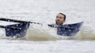 Swimmer interrupts the Boat Race
