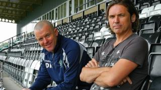 Forest Green Rovers manager Dave Hockaday (L) and chairman Dale Vince