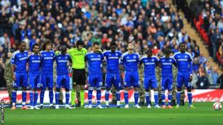 Chelsea players at the intended minute's silence at Wembley
