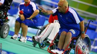 Nigel Murray competing for Team GB in the boccia event at Beijing 2008