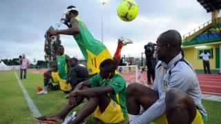 Mali's footballers at training