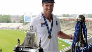 England captain Andrew Strauss with the series trophies