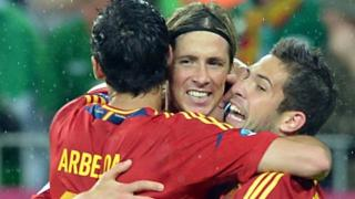 Spain celebrate their victory over the Republic of Ireland
