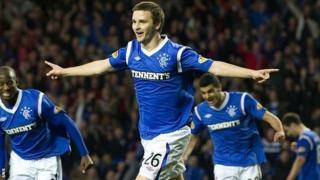 Scotland Under-21 midfielder Jamie Ness celebrates scoring for Rangers