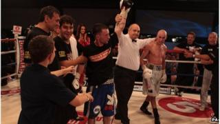 Lee Haskins celebrates his win over Stuart Hall at the Hand Arena, Clevedon, North Somerset