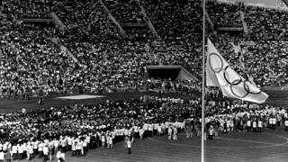 Olympic flag at half mast, Munich 1972