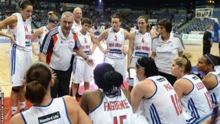 GB women in a time out with coach Tom Maher