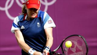 Elena Baltacha in action against Ana Ivanovic.