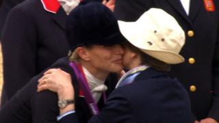 Zara Phillips embraces her mother after winning silver