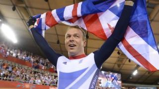 Chris Hoy celebrates his sixth Olympic gold medal