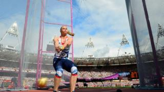 Sophie Hitchon competes in the hammer competition