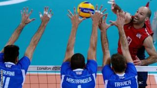William Priddy of the US faces the Italian team during the men's quarter-final