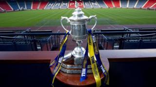 The Scottish Cup trophy at Hampden Park