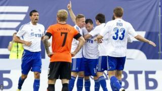 Dinamo Moscow players celebrating