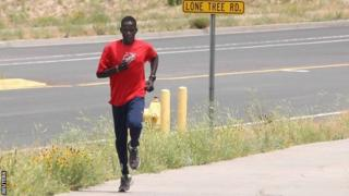 Guor Marial trains for the Olympic marathon in Arizona