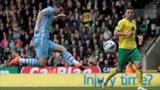 Adam Johnson scores for Manchester City against Norwich
