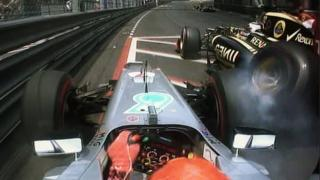 Romain Grosjean and Michael Schumacher crash at Monaco GP
