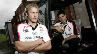 Stephen Ferris with team-mate Paddy Wallace after a training session in 2007