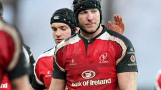 Ferris is consoled as Ulster crash out of the 2009 Heineken Cup following defeat to Stade Francais