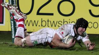 A determined Ferris touching down for a try in the Heineken Cup at Ravenhill in 2011