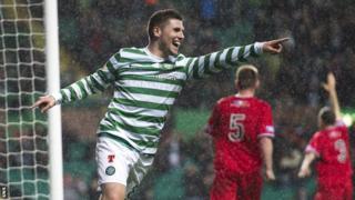 Gary Hooper celebrates after scoring against Raith Rovers