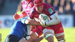 Exeter's Tom Johnson is halted by Leinster's Fergus McFadden