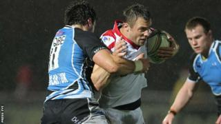Glasgow's Alex Dunbar tackles Ulster's Tommy Bowe