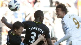 Miguel Michu scores against Wigan Athletic