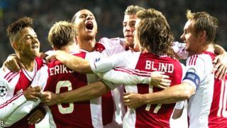Ajax celebrate beating Manchester City