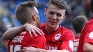 Cardiff City goal scorers Craig Noone and Joe Mason celebrate
